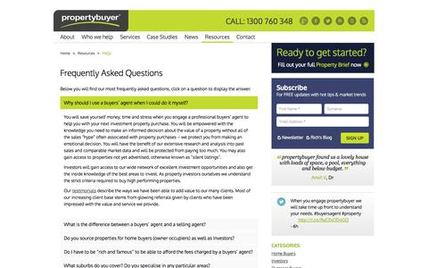 Screenshot of FAQ Page propertybuyer.com.au - Frequently Asked Questions: FAQ: Property Buyer - captured Sept. 30, 2014
