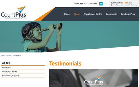 Screenshot of Testimonials Page countplus.com.au - Testimonials - CountPlus Limited (ASX:CUP) - captured Sept. 29, 2018