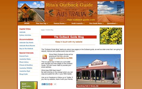 Screenshot of Press Page ritas-outback-guide.com - The Outback Guide Blog - Explore the Australian Outback - captured Oct. 30, 2014