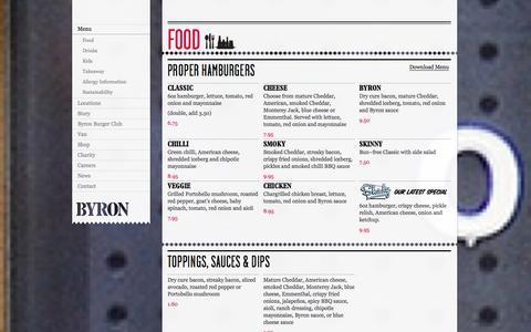 Screenshot of Menu Page byronhamburgers.com - Menu - Byron - Proper Hamburgers - captured Sept. 23, 2014