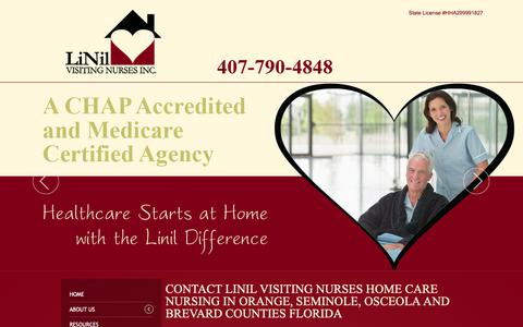 Screenshot of Contact Page linilvisitingnurses.com - Contact LiNil Visiting Nurses Home Care Nursing Lake, Sumter, Marion, Citrus, Florida - captured Sept. 29, 2018