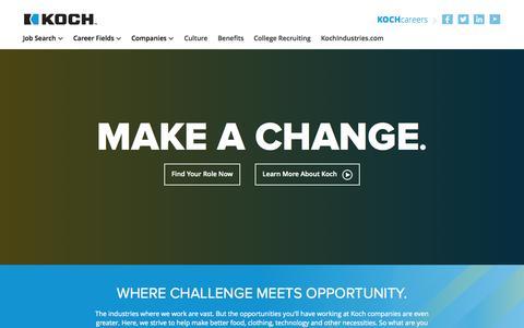 Screenshot of Home Page kochcareers.com - Koch Careers - captured Oct. 6, 2014