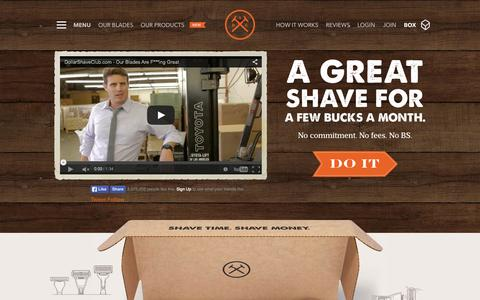 Screenshot of Home Page dollarshaveclub.com - Dollar Shave Club - captured Sept. 20, 2015