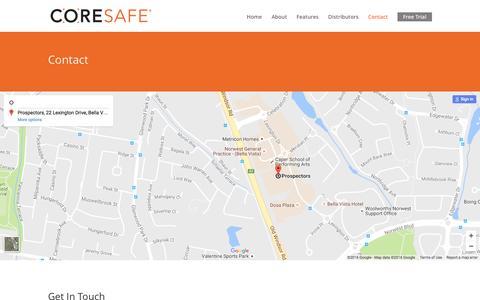 Screenshot of Contact Page coresafecoretrays.com - Contact - Core Safe Core Trays - captured Nov. 12, 2016