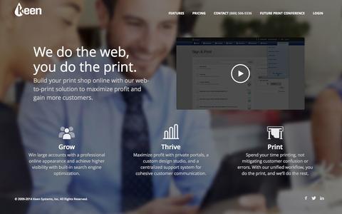 Screenshot of Home Page keenprint.com - Keen Web-to-Print   Award-Winning Software Solution - captured Sept. 16, 2014