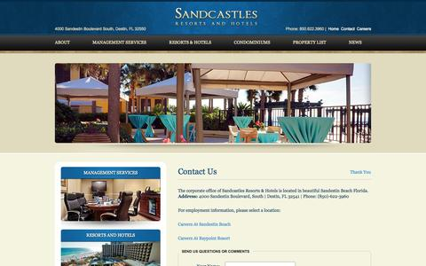 Screenshot of Contact Page Jobs Page sandcastlehotels.com - Contact Us | Sandcastles Resorts & Hotels - captured Oct. 4, 2014
