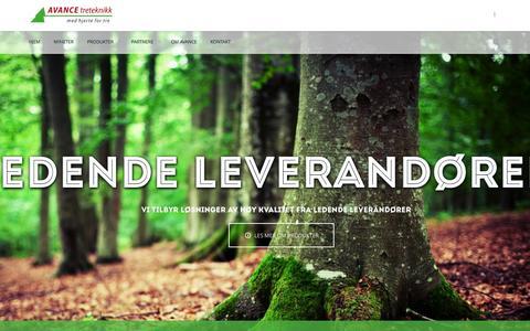 Screenshot of Home Page avance.no - Avance Treteknikk | Med hjerte for tre - captured Feb. 5, 2016