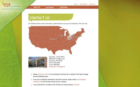 Screenshot of Contact Page taylor-strategy.com - Taylor Strategy Partners - Contact Us - captured Oct. 7, 2014