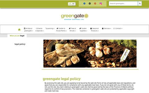 Screenshot of Terms Page greengate.ca - Greengate's Legal Policy - captured Dec. 16, 2018