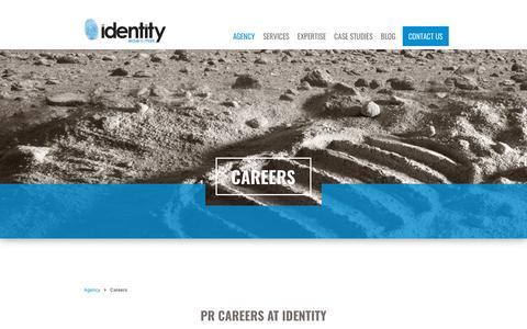 Screenshot of Jobs Page identitypr.com - Careers, PR Agency Careers | Identity - captured Oct. 11, 2018