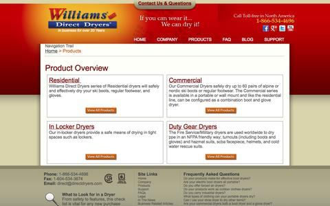 Screenshot of Products Page directdryers.com - Residential Dryers, Commercial Dryers, In Locker Dryers, Duty Gear Dryers - captured Nov. 5, 2014