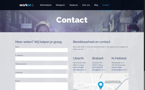 Screenshot of Contact Page work-on.nl - Contact   Work-on - captured Nov. 12, 2017