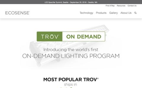 Screenshot of Home Page trovondemand.com - TROV On Demand - Ecosense Lighting - captured Nov. 1, 2018