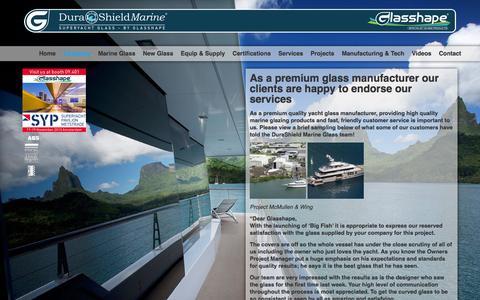 Screenshot of Testimonials Page durashieldmarine.com - Glass Manufacturer   United States   DuraShield Marine - captured Feb. 9, 2016