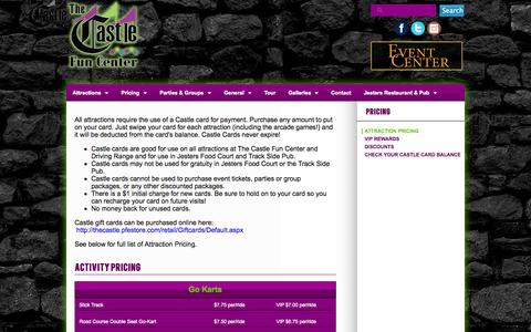 Screenshot of Pricing Page thecastlefuncenter.com - Attraction Pricing  | Castle - captured Nov. 3, 2014