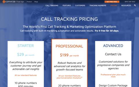 Screenshot of Pricing Page convirza.com - Call Tracking Pricing: Track Calls with Real-time Reporting $29 - captured Oct. 25, 2018