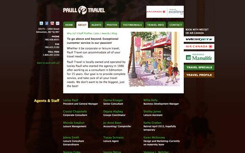 Screenshot of About Page paulltravel.com - About the Agency | Paull Travel - captured Sept. 30, 2014