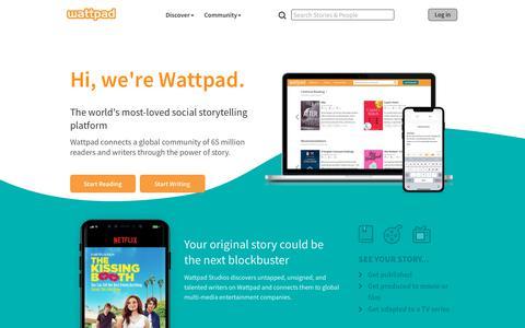 Screenshot of Home Page wattpad.com - Wattpad - Stories You'll Love - captured Sept. 2, 2018