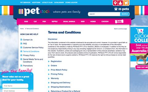 Screenshot of Terms Page petstock.com.au - Pet Supplies & Pet Products Online | PETstock - captured Aug. 30, 2016