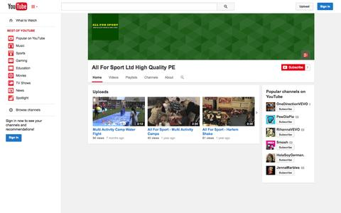 Screenshot of YouTube Page youtube.com - All For Sport Ltd High Quality PE  - YouTube - captured Oct. 23, 2014