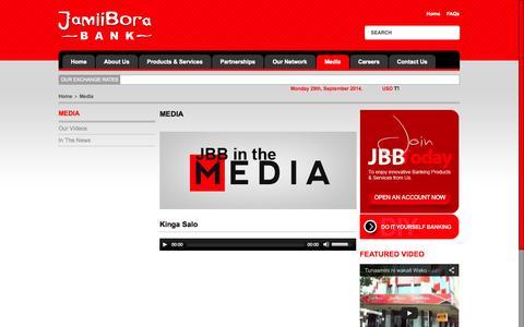 Screenshot of Press Page jamiiborabank.co.ke - Media | Jamii Bora Bank - captured Sept. 30, 2014