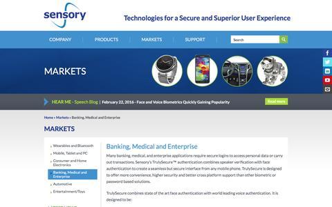 Screenshot of sensory.com - Banking, Medical and Enterprise | Sensory - captured March 19, 2016