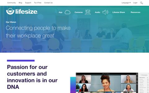 Screenshot of About Page lifesize.com - Enabling Natural Collaboration Through Lifelike Video Conferencing - captured May 17, 2018