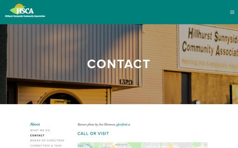 Screenshot of Contact Page hsca.ca - Contact — HSCA - captured Sept. 28, 2018
