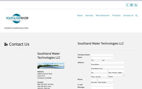 Screenshot of Contact Page southlandwater.com - Contact Us | SOUTHLAND WATER TECHNLOGIES - captured Feb. 15, 2016