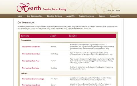 Screenshot of Locations Page thehearth.net - Our Retirement Communities   Hearth Management Premier Senior Living - captured Oct. 2, 2014