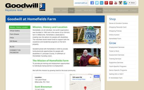 Screenshot of Maps & Directions Page yourgoodwill.org - Homefields Farm - Goodwill Keystone Area - captured Oct. 2, 2014