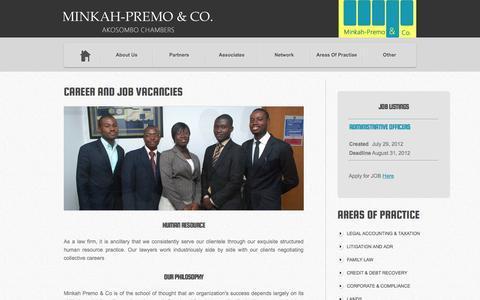 Screenshot of Jobs Page minkahpremo.com - Minkah-Premo & Co.   Career & Job Vacancies - captured Oct. 25, 2014