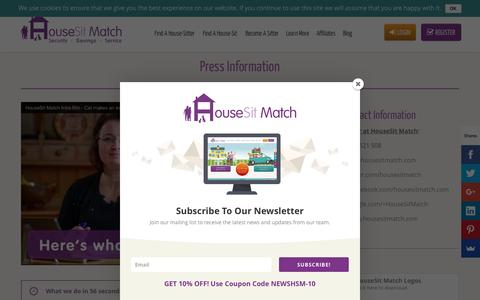 Screenshot of Press Page housesitmatch.com - Press information about HouseSit Match - captured Feb. 1, 2016