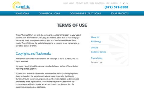 Screenshot of Terms Page sunetric.com - Terms of Use | Sunetric - captured Nov. 10, 2017