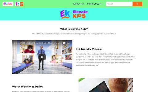 Screenshot of About Page elevatekids.com - Parents - Elevate Kids - captured July 7, 2018