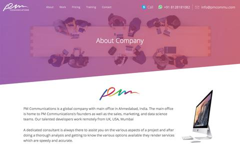 Screenshot of About Page pmcommu.com - About Us | PM Communications | Leading Website, Graphic, Mobile Designing and development Company Ahmedabad, India - captured Sept. 25, 2018