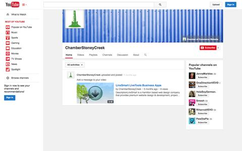 Screenshot of YouTube Page youtube.com - ChamberStoneyCreek  - YouTube - captured Oct. 26, 2014
