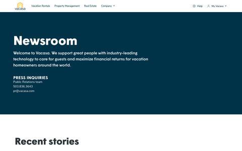 Screenshot of Press Page vacasa.com - Vacasa Newsroom | Press Inquiries, Recent Stories, Awards & More - captured Sept. 27, 2018