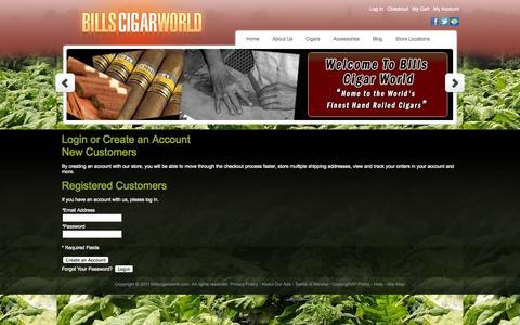 Screenshot of Login Page billscigarworld.com - Customer Login - captured Nov. 2, 2014