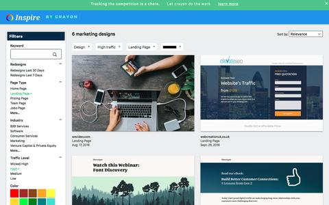 Screenshot of Trial Page crayon.co - High traffic Design Landing Pages | Website Inspiration and Examples | Crayon - captured Nov. 26, 2019