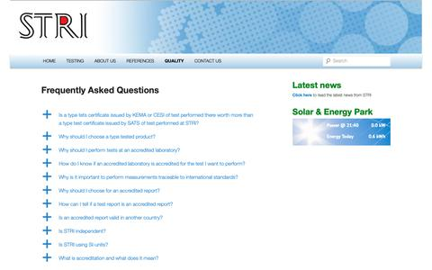 Screenshot of FAQ Page stri.se - Frequently Asked Questions | STRI High Voltage Testing - captured Nov. 11, 2018