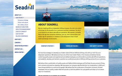 Screenshot of About Page seadrill.com - Seadrill - setting the standard in drilling - captured Sept. 23, 2014