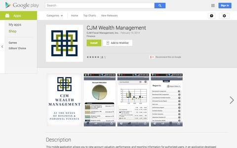 Screenshot of Android App Page google.com - CJM Wealth Management - Android Apps on Google Play - captured Oct. 22, 2014