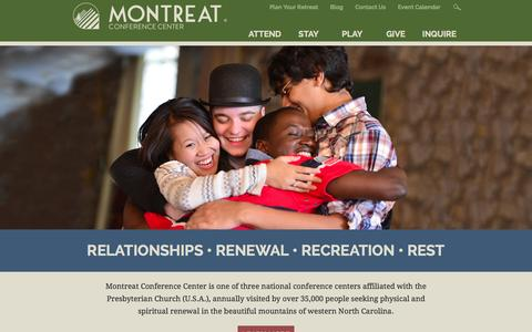 Screenshot of Home Page montreat.org - Montreat Conference Center | Montreat NC - captured Oct. 6, 2014
