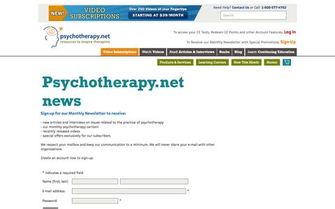 Screenshot of Signup Page psychotherapy.net - Psychotherapy.net news - captured Feb. 1, 2016