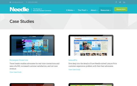 Screenshot of Case Studies Page needle.com - Case Studies | Needle - captured Sept. 12, 2014
