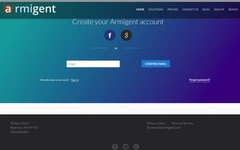 Screenshot of Signup Page armigent.com - Sign Up, Get Started | Armigent Inspect - captured Sept. 30, 2014