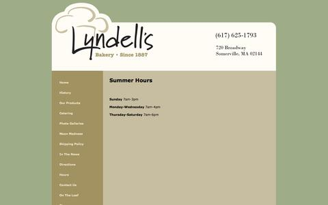 Screenshot of Hours Page lyndells.com - Lyndell's Bakery - Contact Us - captured Oct. 6, 2014