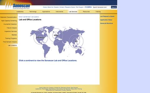 Screenshot of Locations Page sonoscan.com - Sonoscan Lab and Office Locations - captured Oct. 6, 2014