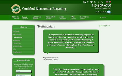 Screenshot of Testimonials Page compucycle.net - Testimonials - captured Jan. 30, 2016